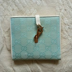 💯Auth Gucci light blue canvas leather logo wallet